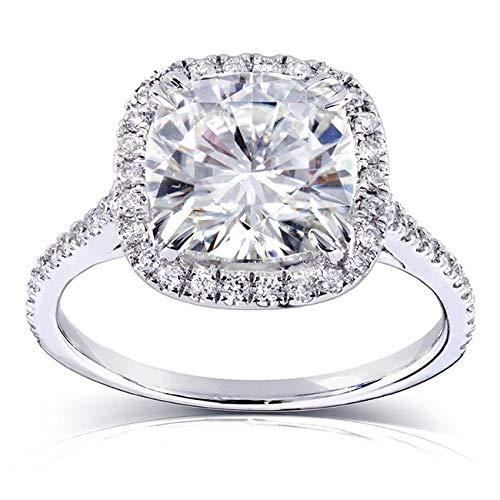 Cushion-cut Moissanite and Diamond Engagement Ring 3 Carat (ctw) in 14k White Gold (8.5mm) (Cut Cushion Diamond)