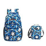 Tilami Students Backpack 14 Inch School Bag with lunch bag set (bule star 1)
