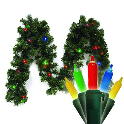UPC 021995740627, Brite Star 9-Feet Canadian Lighted Branch Garland, 20 Count Multi-Colored Traditional Mini LED Lights, Battery Operated with Timer
