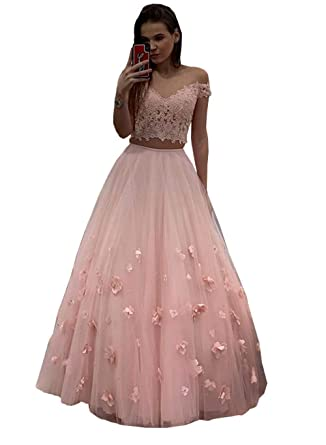 b125f1477c9c 3D Floral Embroidered Prom Dresses Two Pieces Beaded Hand Made Flowers  V-Neck Formal Evening Gowns 2019 at Amazon Women s Clothing store