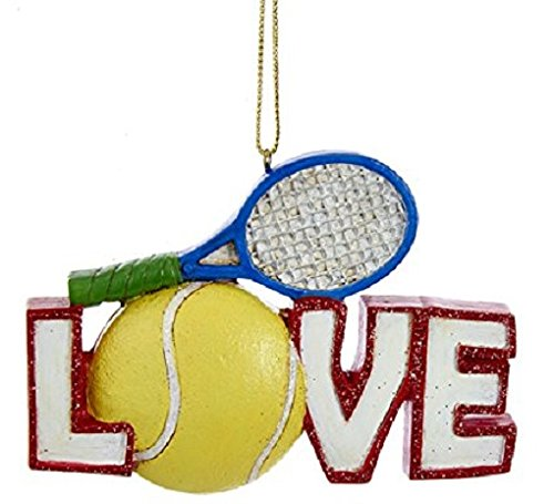 LOVE Tennis Ball and Racket Christmas Tree Ornament Decoration Sports C6684 (Tennis Racquet Decorations)
