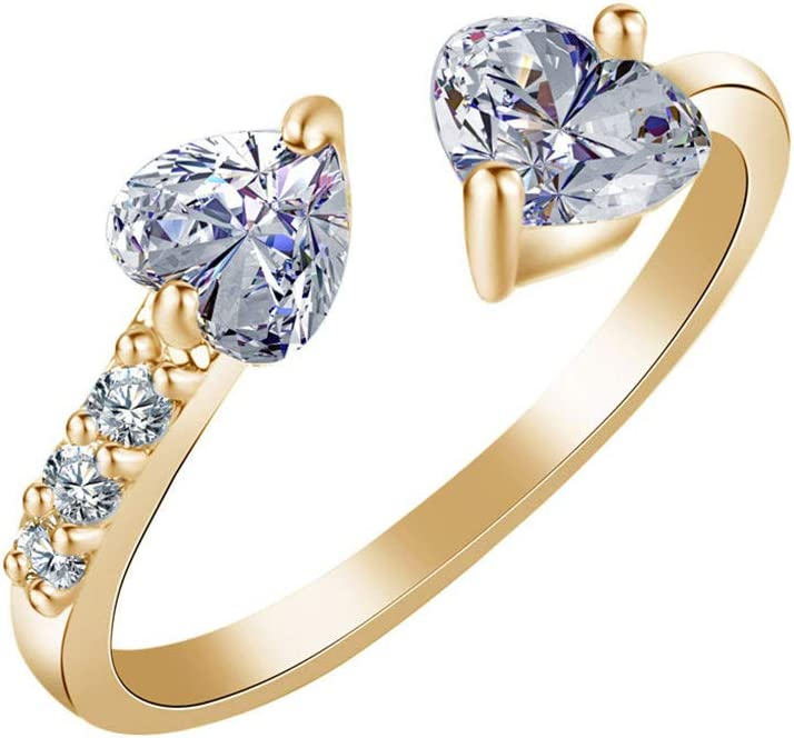 Kitt 2019 Elegant Women Double Heart Full Diamond Open Rings All Size Zircon Ring Jewelry (Gold)