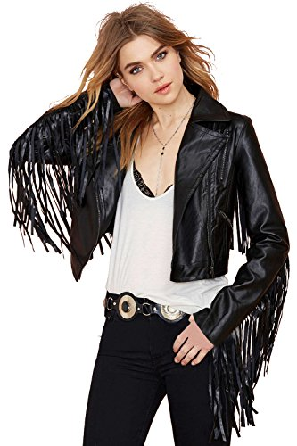 A Forever Fairness Women's Fringes-sleeved Pu Jacket (Large)