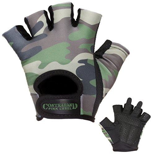 Contraband Pink Label 5217 Womens Design Series Camo Print Lifting Gloves (Pair) - Lightweight Vegan Medium Padded Microfiber Amara Leather w/Griplock Silicone (Green, Small)