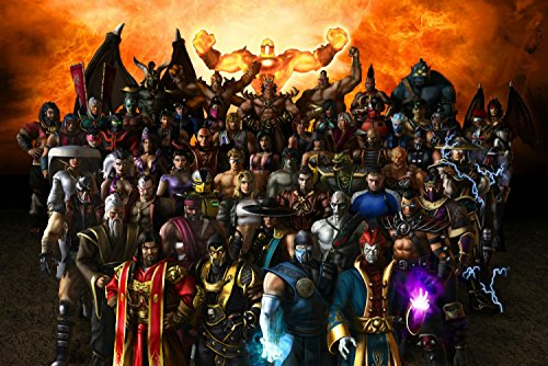 Cartoon world F0354 24 x 34 INCHES Mortal Kombat 9 All Heroes Combat giant poster canvas art work Print Waterproof -