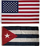 USA American and Cuba Cuban Flag 3×5 EMBROIDERED 2 double sided Flag Wholesale Lot House Banner Double Stitched Fade Resistant Premium Quality Review