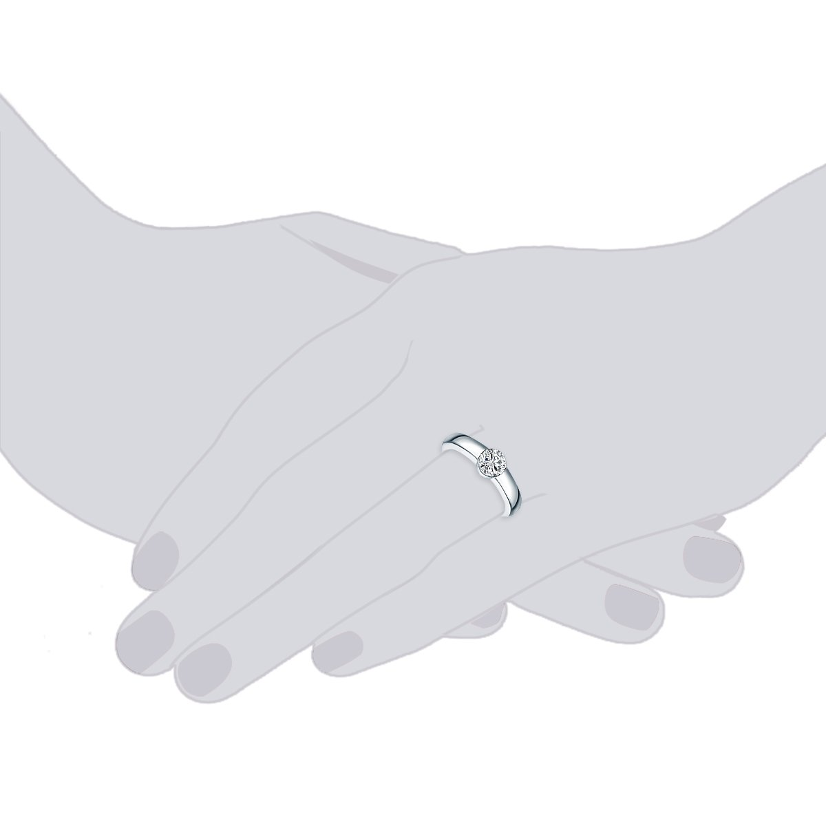 Tresor 1934 Anillo de mujer Jewels - Plata de ley cristales de swarovski® Color Blanco - Anillo de sujeción de anillo de compromiso antrag Anillo Plata ...