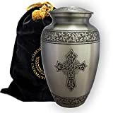 Commemorative Cremation Urns - Love of Christ SILVER Brass Metal Funeral Cremation Urn for Human Ashes - Extra Large/Oversized