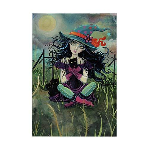 CafePress Kitten Witch Halloween Rectangle Magnet, 2