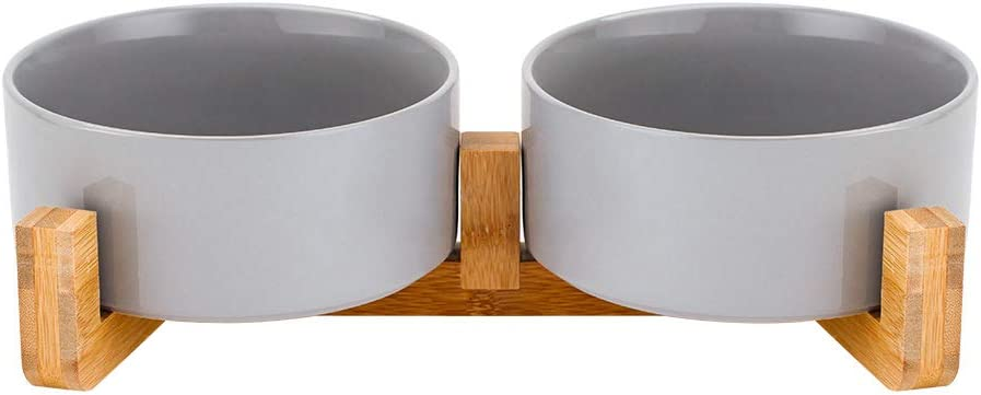 LIONWEI LIONWELI Grey Ceramic Cat Dog Bowl Dish with Wood Stand No Spill Pet Food Water Feeder Cats Large Dogs Set of 2