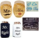 Bridal Shower Gift Bundle includes Mr & Mrs Wine Glasses, Shoe Stickers, Can Coolers and Conversation Starters for Husbands and Wives 15 oz glass or 10 oz plastic