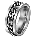 FANSING Jewelry 8mm Chain Design Stainless Steel Spinner Rings for Mens & Womens Wedding Bands