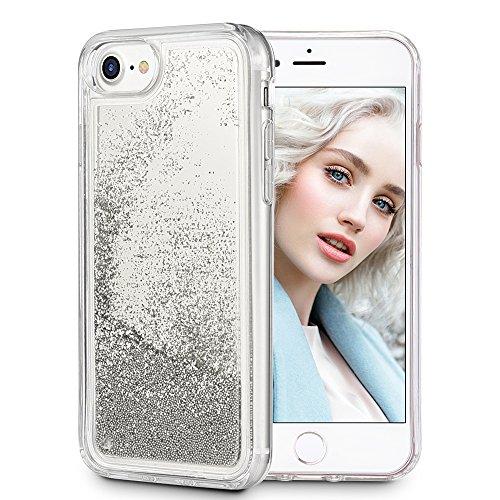Maxdara iPhone 8 case, iPhone 7 Case [Glitter Mirror Series], Mirror Glitter Liquid Floating Bling Sparkle Bumper Protective Case Pretty Fashion Design for Girls Children -iPhone 6/6s/7/8 (Silver)