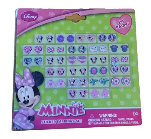 Disney Minnie Mouse Bow-tique Kids 24-pair Sticker Earrings (Pack of 3)