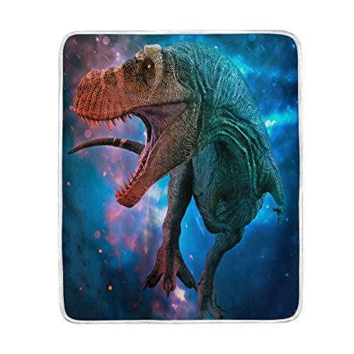 ZZKKO Space Galaxy Funny Dinosaur Blanket Throw Warmer for Kids Baby Boy Girl Home Decorative Couch Soft Bed Living Room Nap Mat Outdoor Travel