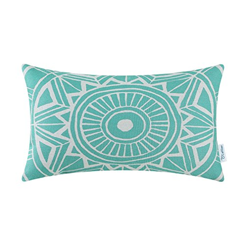 - CaliTime Canvas Bolster Pillow Cover Case for Couch Sofa Home Decoration Modern Compass Geometric 12 X 20 inches Turquoise
