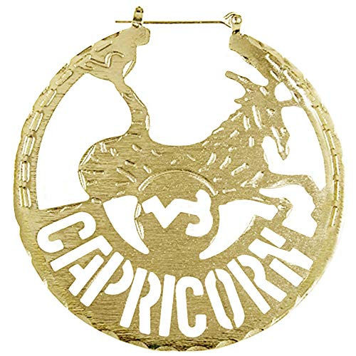 Horoscope Zodiac Hoop Earrings, Capricorn in Gold Tone]()