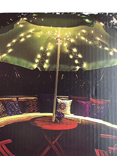 Umbrella Light Set for Most Standard Patio Umbrellas White Corded ()