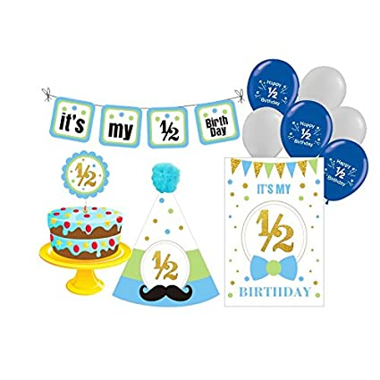 PrettyurParty Boys Half Birthday Decorations Photo Shoot Props 6 Months Blue White Gold Amazonin Toys Games