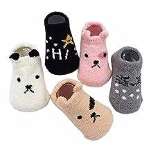 Happy Cherry Baby Toddler Newborn 6 Pairs Coral fleece Socks Anti Slip Warm Socks 12-24 Months, Random Color