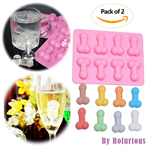 [Pack of 2] Willy Penis Ice Cube Tray Baking Jelly Mould Happy Hen Night Party Chocolate Maker Novelty Gift Fun