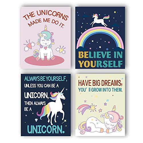 Star Girl Canvas Reproduction - Unframed Adorable Unicorn Wall Art Print Stars Rainbow Art Painting,Set of 4 Art Posters(8