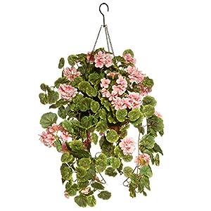 "CC Christmas Decor 11"" Pink Geranium Flower Hanging Basket 68"