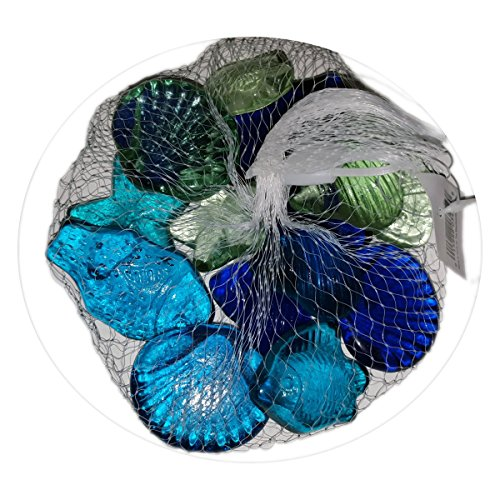 Beachcombers Seashell & Fish Stones Decorative Nautical Sea Glass Pebbles - No. - Glasses Seashell