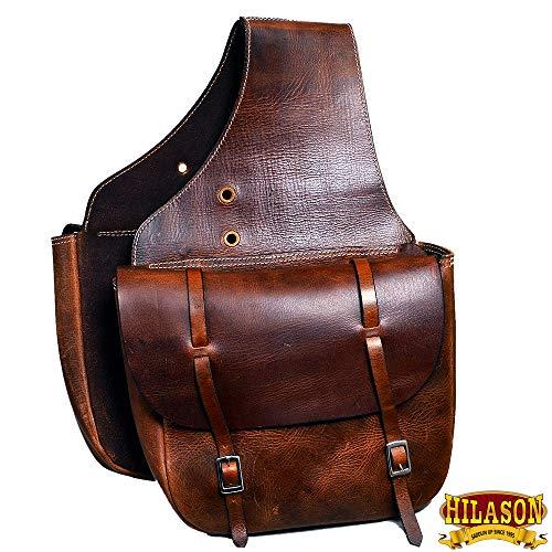HILASON Western Horse Leather Saddle Bag HEAVYDUTY Traditional Cowboy Trail Ride