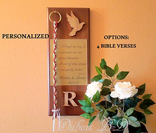 Personalized Wood board display and Cord of Three Strands 2 pcs. Set.