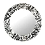 NOVICA Mosaic Silver Glass Frame Round Wall Mounted Mirror, 'Round Shimmer'
