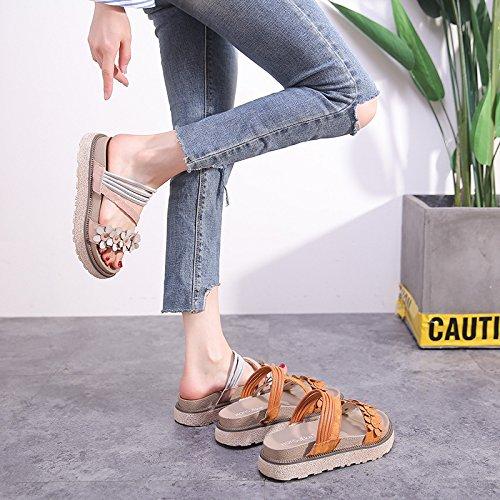 Plattform Sandaler Gladiator Skinn slip Yttersåle Womens H Beige W Non 6tgxXX