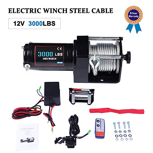 TUPARTS 12V Steel Cable 3000LBS/1360KG Electric Winch for 4WD 4x4 Off-Road Vehicles with Wireless Remote Control Boat Trailer Truck Jeep SUV Recovery