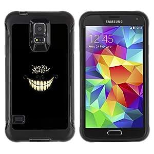 CASSO Cases / Samsung Galaxy S5 SM-G900 / WE'RE ALL MAD HERE - ALICE / Robusto Prueba de choques Caso Billetera cubierta Shell Armor Funda Case Cover Slim Armor