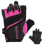 Contraband Pink Label 5137 Womens Weight Lifting Gloves w/ Grip-Lock Padding (PAIR) (Black/Pink, Medium)