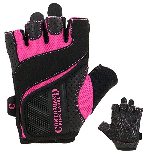 UPC 641871938407, Contraband Pink Label 5137 Womens Weight Lifting Gloves w/ Grip-Lock Padding (PAIR) (Black/Pink, Large)