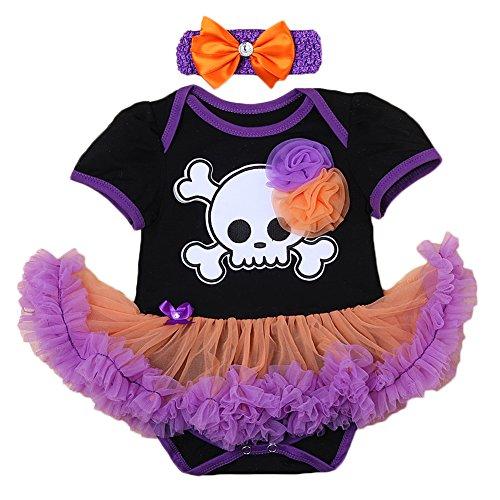 [Newborn Infant Baby Girl Princess Party Romper Suits Costume My 1st Halloween Black Orange Tutu Dress Nb-18m Clothe set Black+Purple 6-12 Months] (Pettiskirt Halloween Costume)