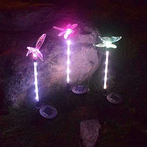 YMJJ LED Que Cambia la luz Solar Exterior Luz Solar LED jardín decoración Estatua (Mariposa, libélula, pájaro) - Luz de jardín Luz LED de Exterior para jardín, césped, Patio (Paquete de 3):