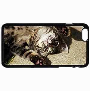 Customized Case Back For Iphone 6 Plus 5.5 Inch Hard Cover Personalized Feet Cat Mustache Black WANGJING JINDA