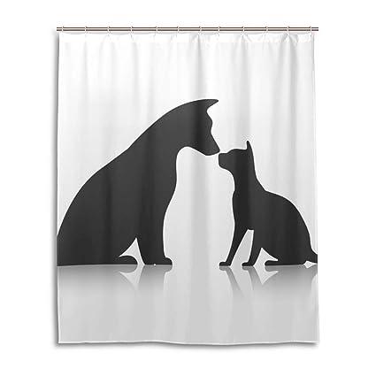 JSTEL Decor Cortina de Ducha Friends Pet Icon, diseño de Perros, Estampado, 100