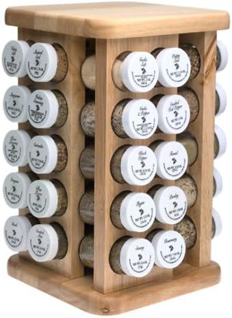 Kamenstein Natural Hardwood Revolving Spice Rack With 40 Filled Spice Jars Amazon Co Uk Kitchen Home