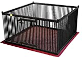 Pupperton P44-MA-BK-R-BRBK-PN Solid American Maple Indoor Pet Exercise Pen with Right-hinged Gate and Brown inside/Black outside Floor Mat, 4' W x 4' L x 26'' H, Black Finish