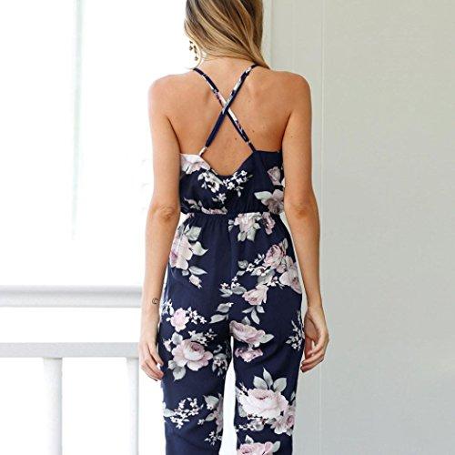 Col large Bandage Combinaison Manches Marine Floral pantalon Combishort V d'été Imprimé Femmes sans haute Combishort Combinaison manches taille jambe Mode Sans vX7qWH