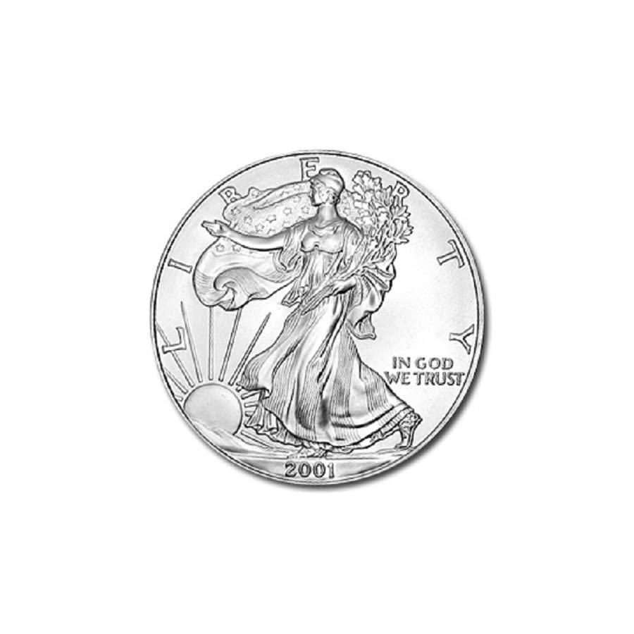 2001 1 Ounce American Silver Eagle Low Flat Rate Shipping .999 Fine Silver Dollar Uncirculated US Mint