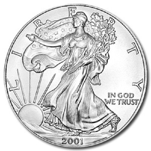 2001-1 Ounce American Silver Eagle Shipping .999 Fine Silver with our Certificate of Authenticity Dollar Uncirculated US Mint ()