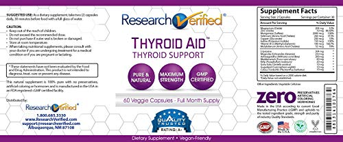 Research Verified Thyroid Aid - With Iodine, Vitamin B12, Selenium, Coleus Forskholii, Kelp, Ashwaghnada & More - 100% Pure, No Additives or Fillers - 100% Money Back Guarantee - 3 Months Supply by Research Verified (Image #6)
