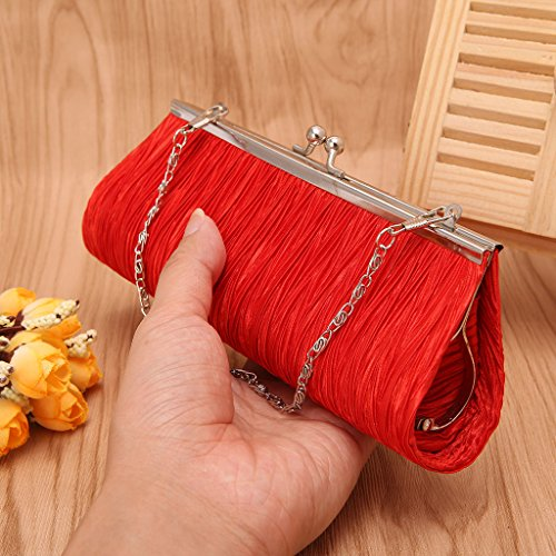 Bags Women Phone 1 14 Shoulder Leather x Coin Black Cocktail 3 Wedding Outdoor Evening Handbag Metal Chain inches Ladies x Single for Date Party with UncleS Shopping 57 Purse 7 Red 87 5wq7RUnvx