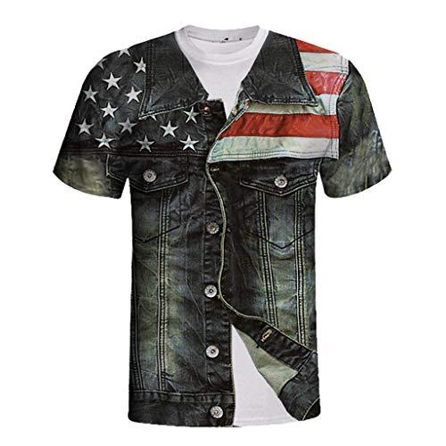 Men T-Shirt,OWMEOT Unisex 3D Print Short Sleeve T Shirt Casual Graphic Tees Tops (Black, M)