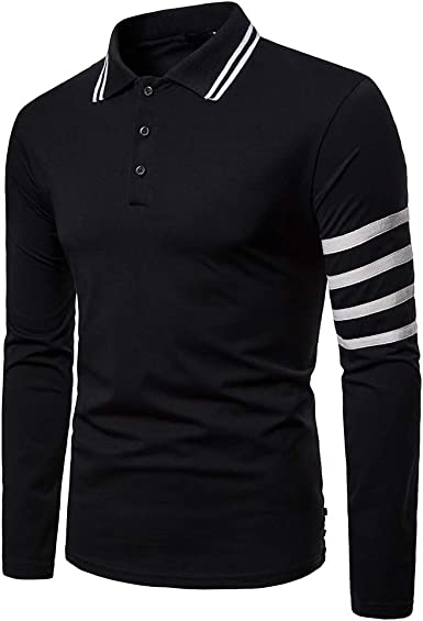 Men's Long Sleeve Polo Shirt Striped 3 Button Slim Fit Solid Color Casual Spring Golf Shirt