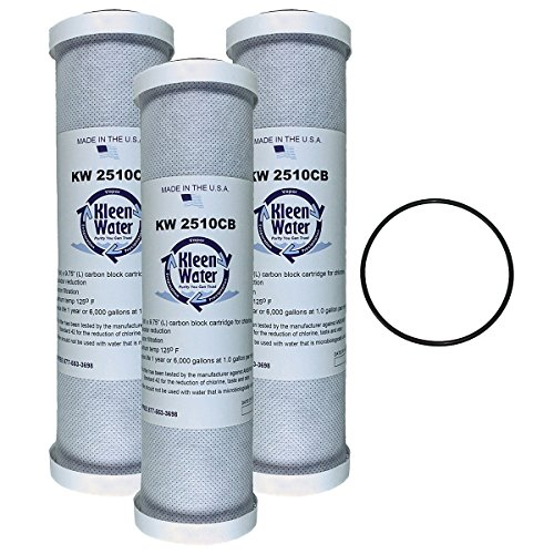 GE GXWH04F, GXWH20F, GXWH20S & GXRM10 Compatible Water Filter Multi-Pack, KleenWater KW2510CB Carbon Block Replacement Cartridge, Set of 3, Includes ()